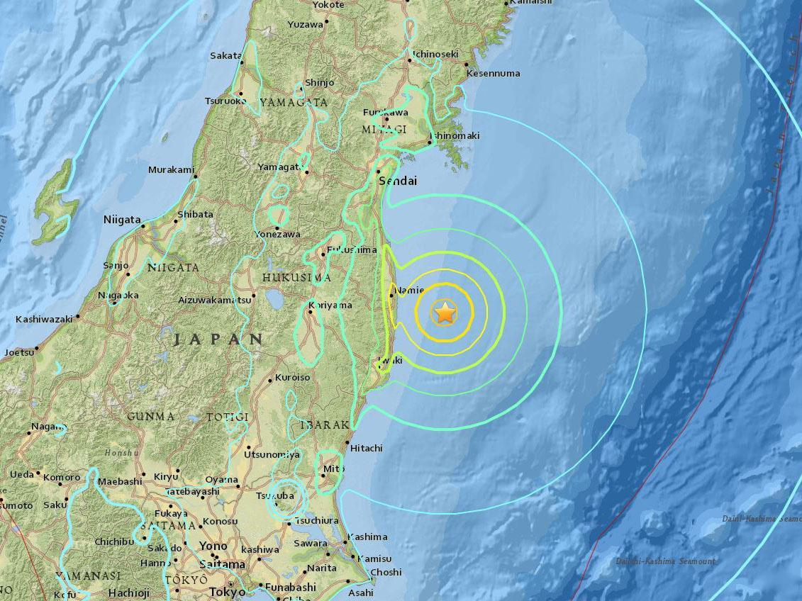 US Geological survey image showing the epicentre of the 6.9 magnitude earthquake south east of Fukushima US Geological Survey